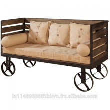 Sofa Side Rolling Metal With Wooden strip